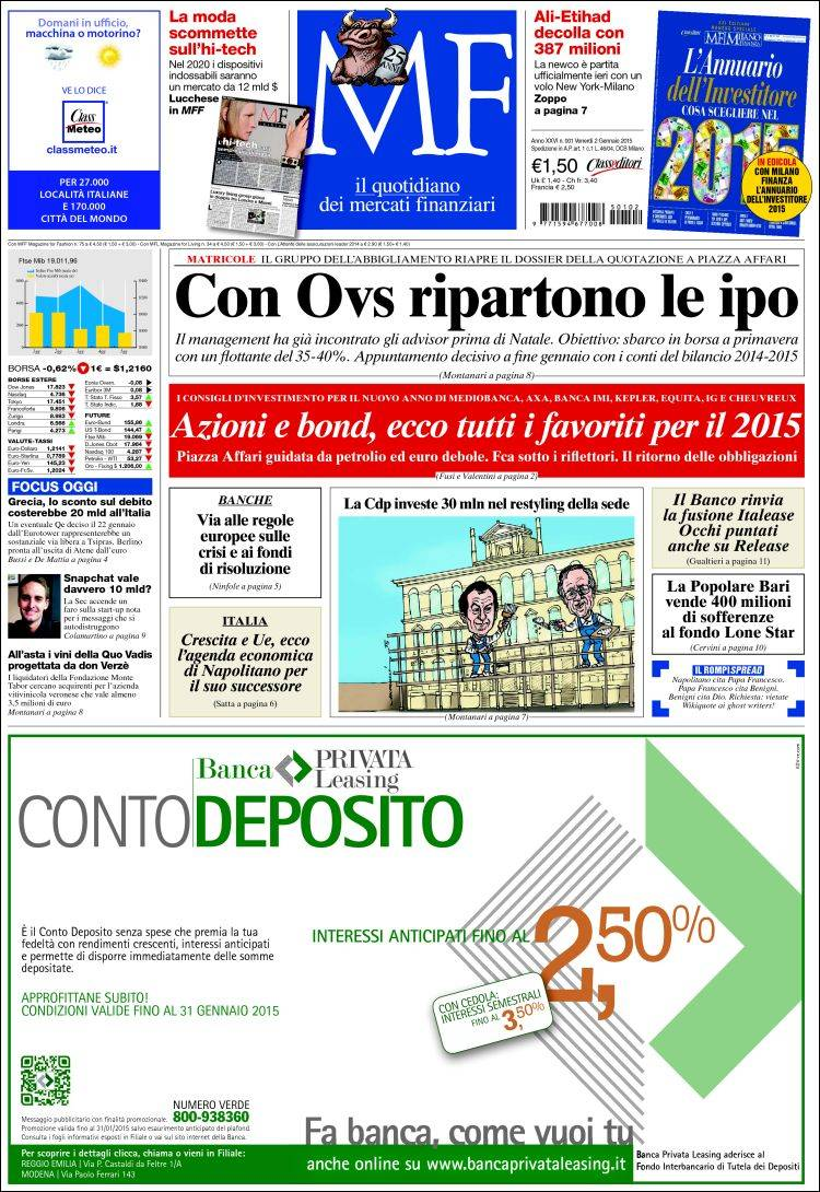 430359e443 Newspaper Milano Finanza (Italy). Newspapers in Italy. Friday's ...