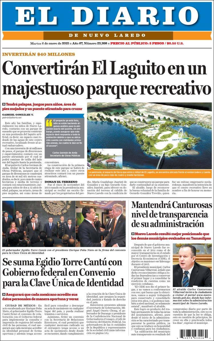 Peri dico el diario de nuevo laredo m xico peri dicos for Noticias del espectaculo mexicano del dia de hoy