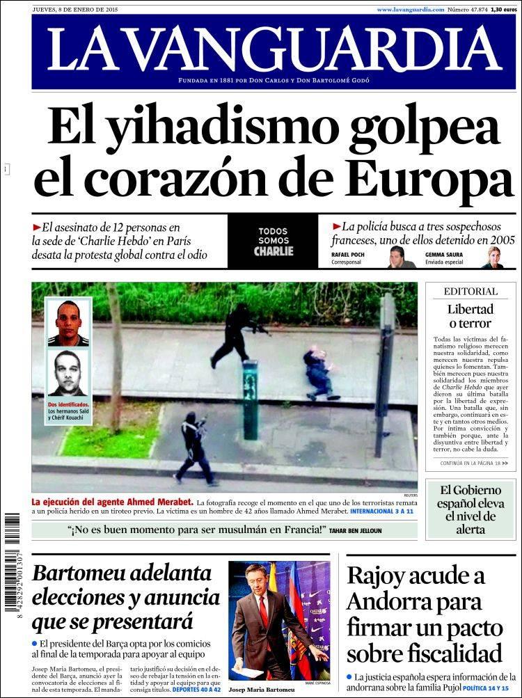 La vanguardia 08 01 2015 la prensa diaria - Portada de la vanguardia ...