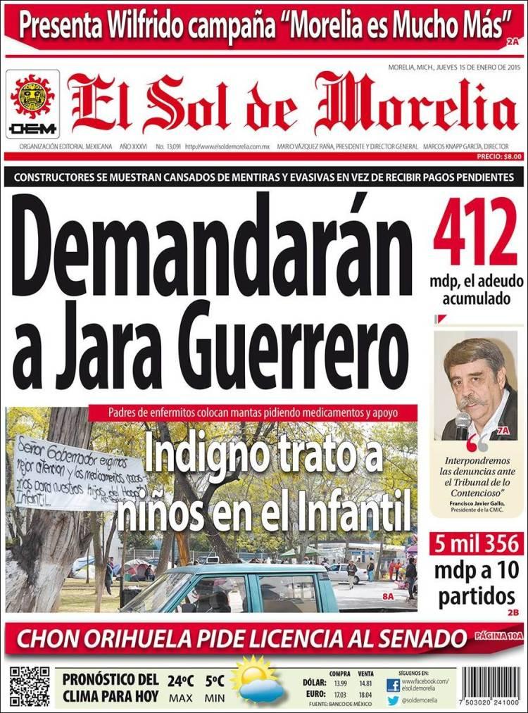 Portada de El Sol de Morelia (México)