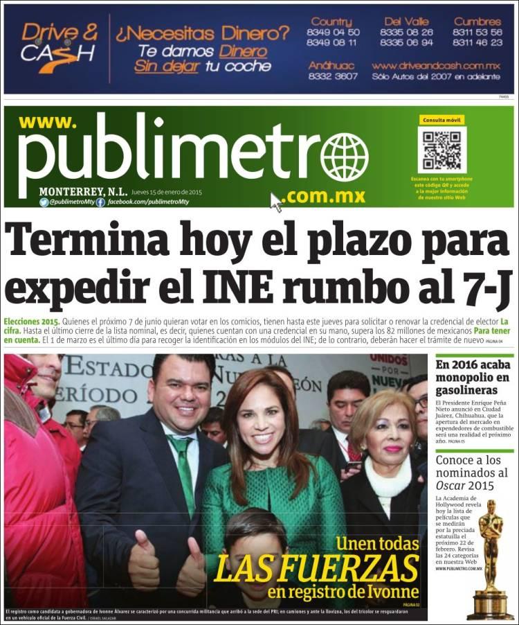 Portada de Publimetro - Monterrey (México)