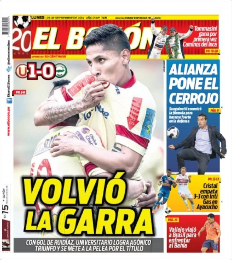 Periódico El Bocón Perú Periódicos De Perú Edición De Sábado 24