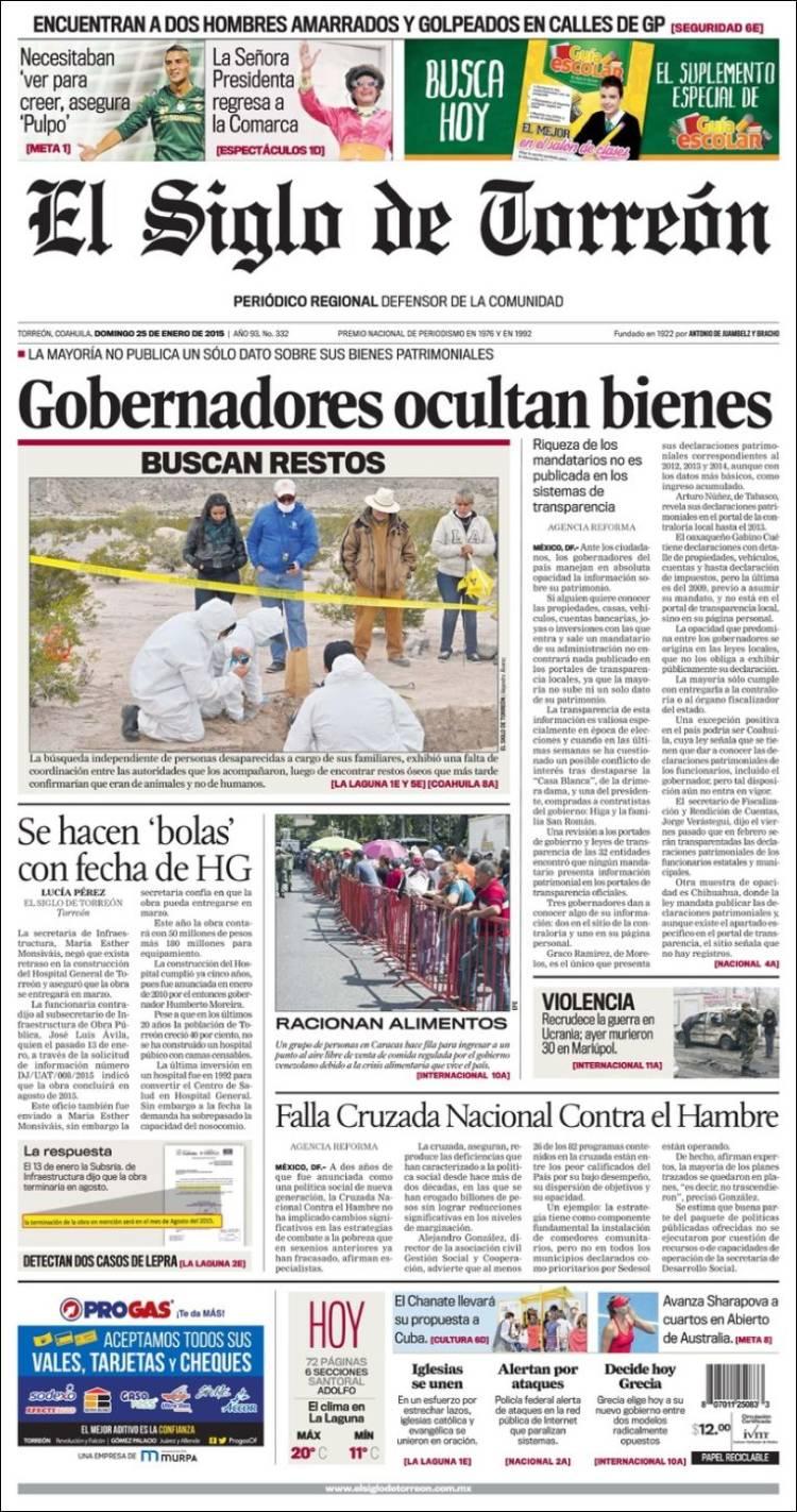 Portada de El Siglo de Torreon (México)