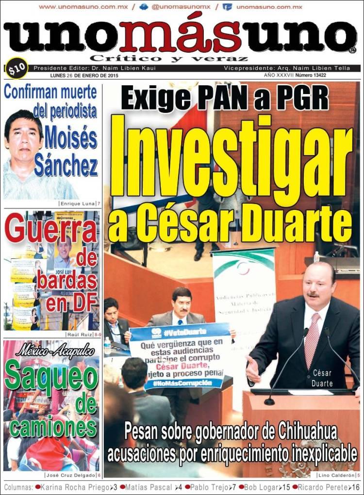 Portada de Uno Más Uno (Mexico)
