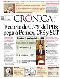 Portada de La Crónica de Hoy (Mexico)