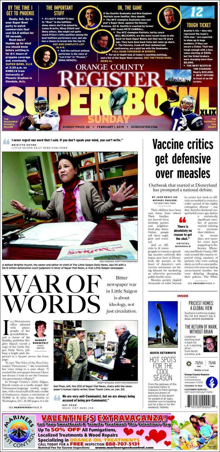 Portada De The Orange County Register Usa
