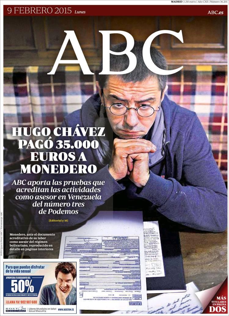 Peridico ABC Espaa Peridicos De Espaa Edicin De Lunes 9 De