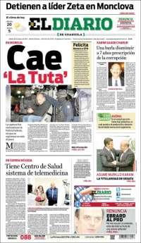Portada de El Diario de Coahuila (México)