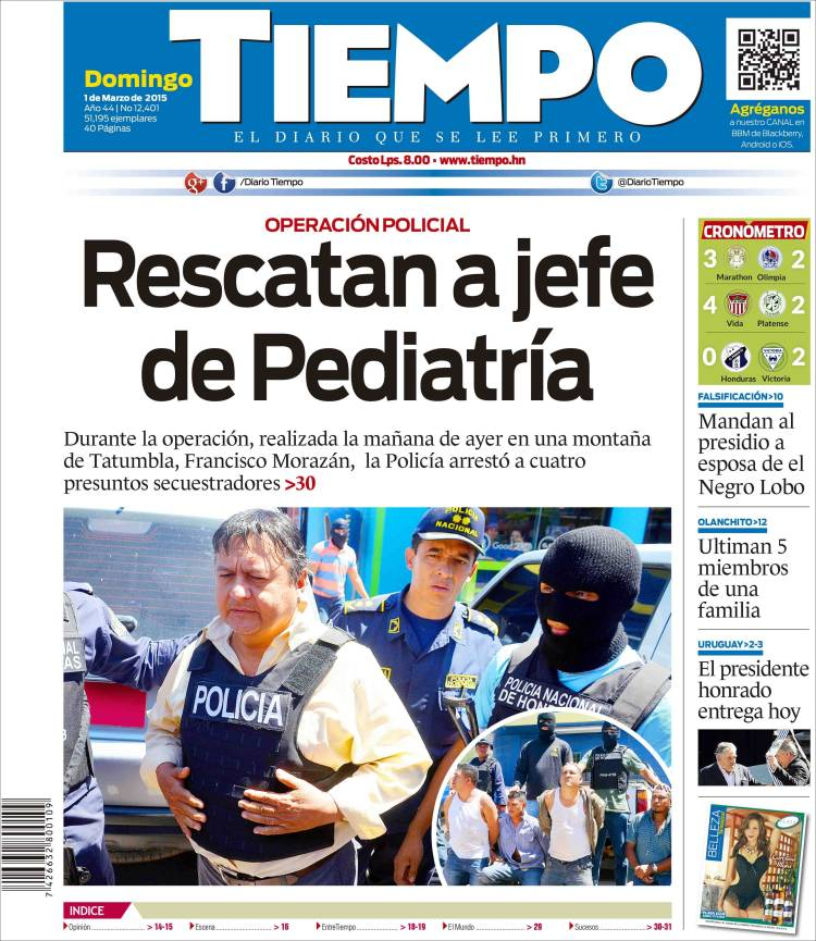 Portada de Tiempo (Honduras)