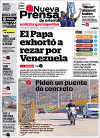 Portada de Nueva Prensa de Oriente (Venezuela)