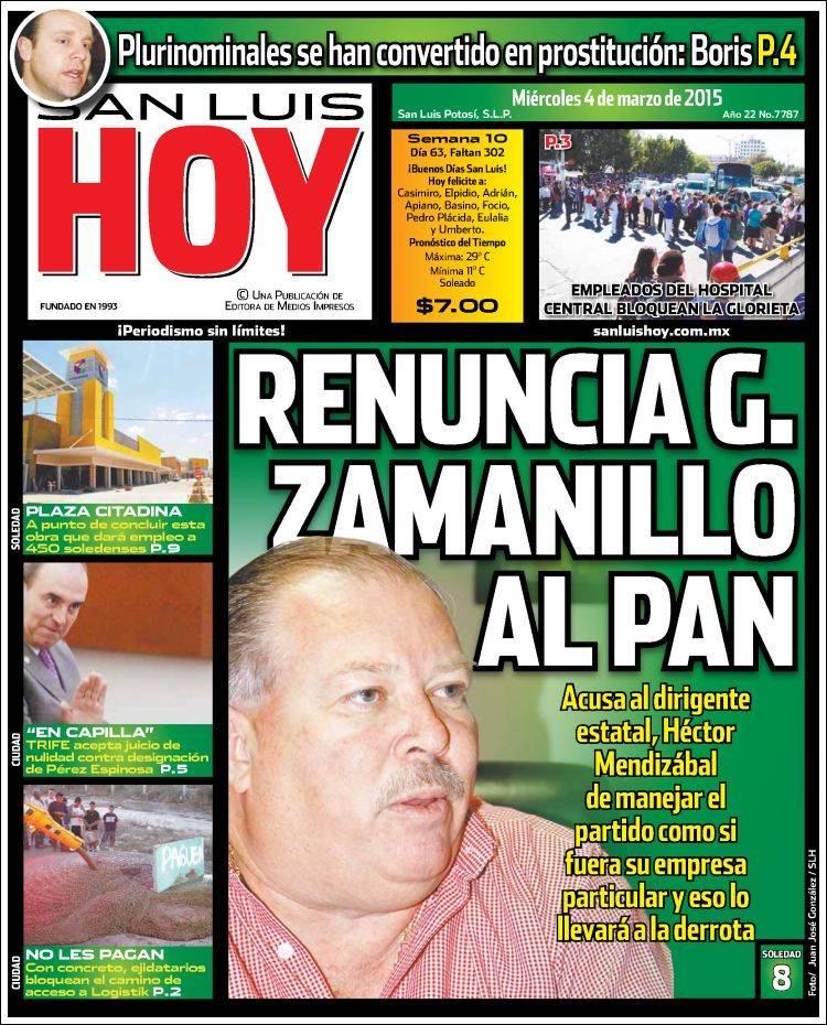 Portada de San Luis Hoy (México)