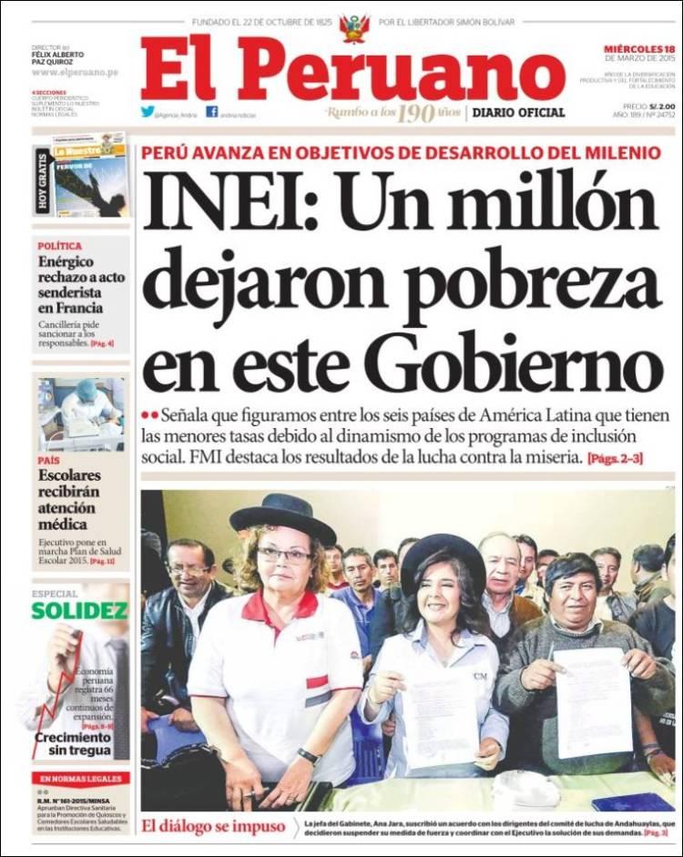 Periódico El Peruano Perú Periódicos De Perú Edición De