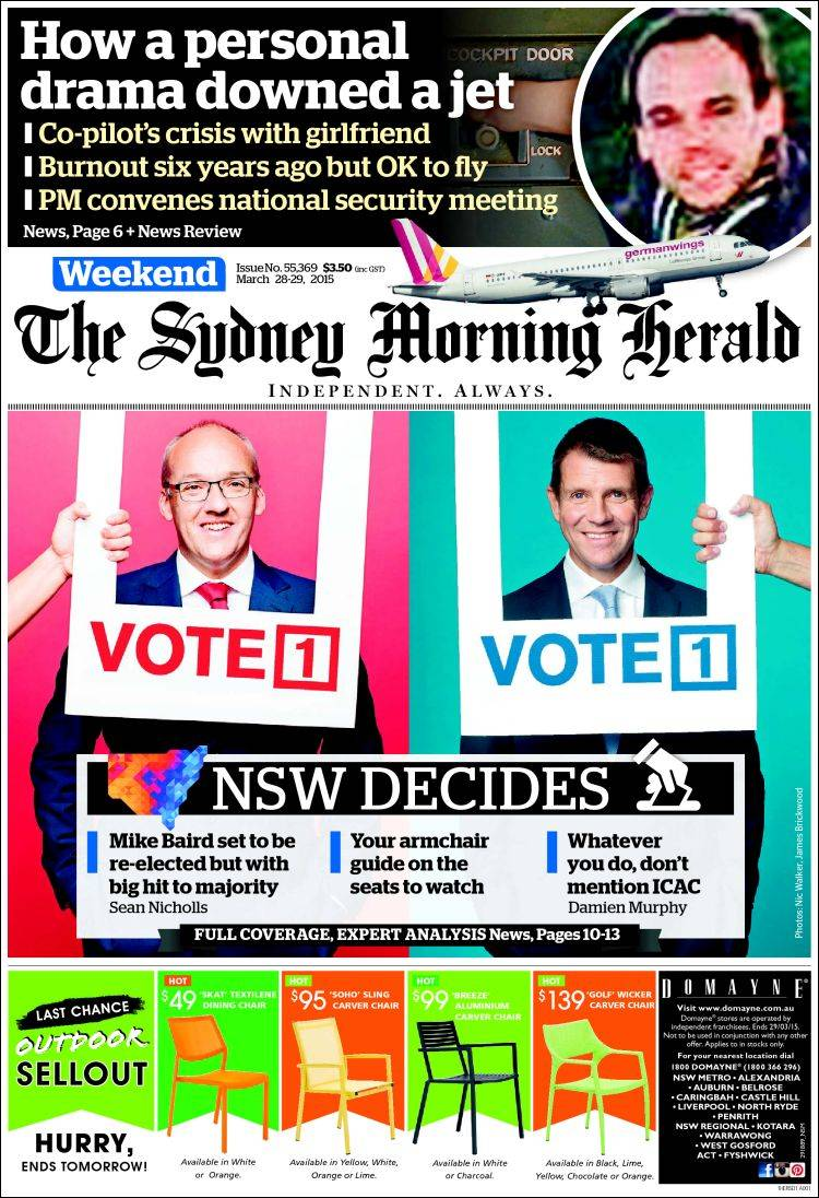 Portada de The Sydney Morning Herald (Australia)