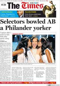 Portada de The Times (South Africa)