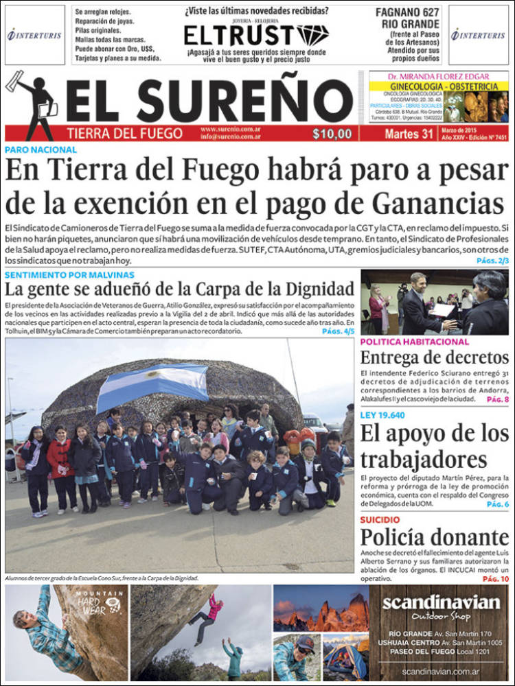 Portada de Diario El Sureño (Argentina)