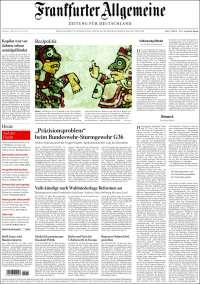 Portada de Frankfurter Allgemeine (Alemania)