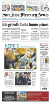 Portada de San Jose Mercury News (USA)