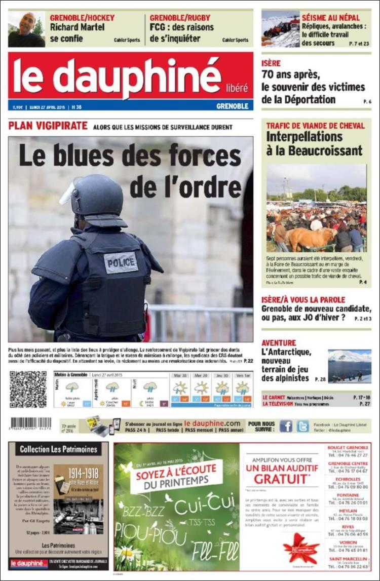 Portada de Le Dauphiné Libéré (Francia)