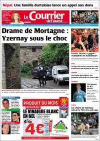 Portada de Le Courrier de l'Ouest (Francia)