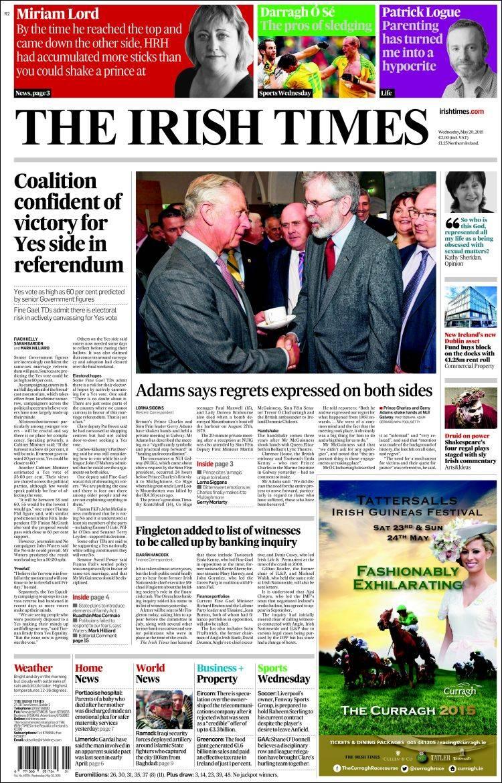 Portada de Irish Times (Ireland)