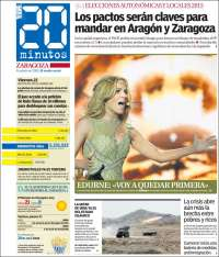 Portada de 20 Minutos - Zaragoza (Spain)