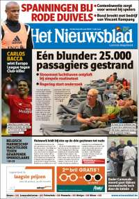 Portada de Het Nieuwsblad (Belgique)