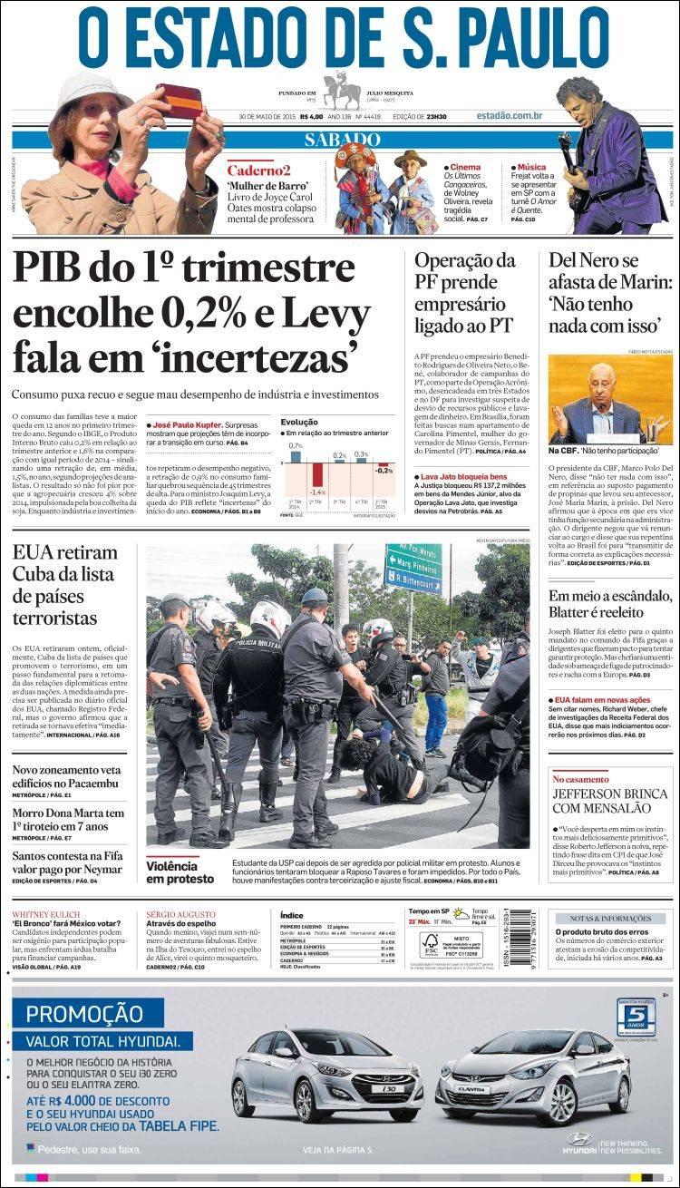 Periódico O Estado De São Paulo Brasil Periódicos De