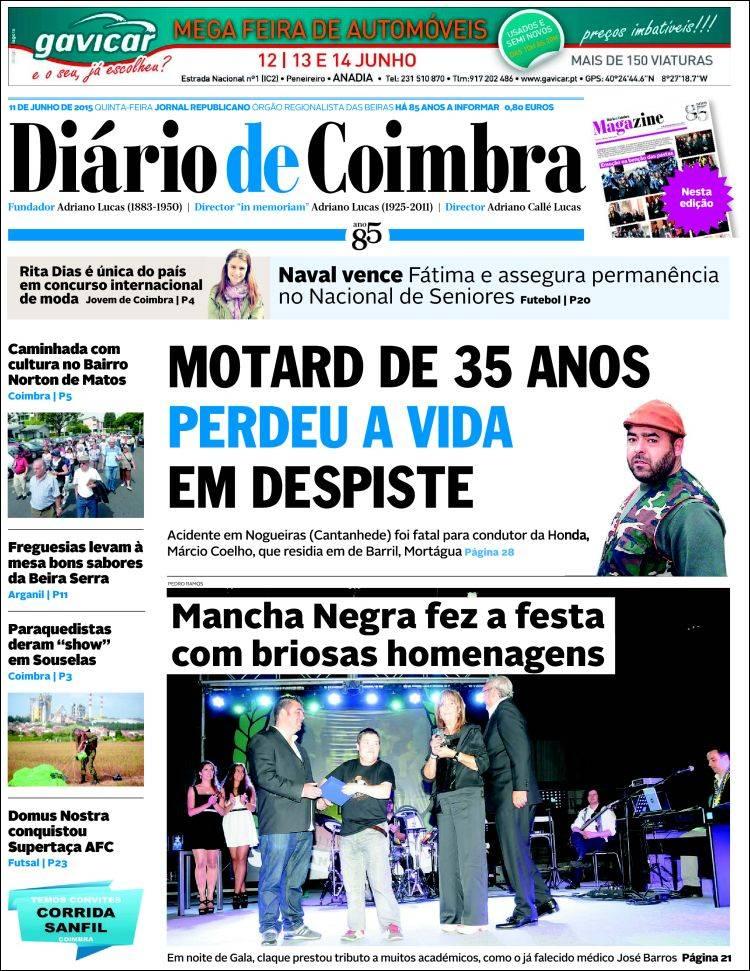 Portada de Diário de Coimbra (Portugal)