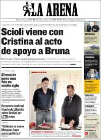 Portada de Diario La Arena (Argentina)
