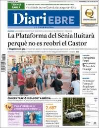 Portada de Diari Ebro de Tarragona (España)