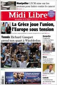 Portada de Midi Libre (Francia)