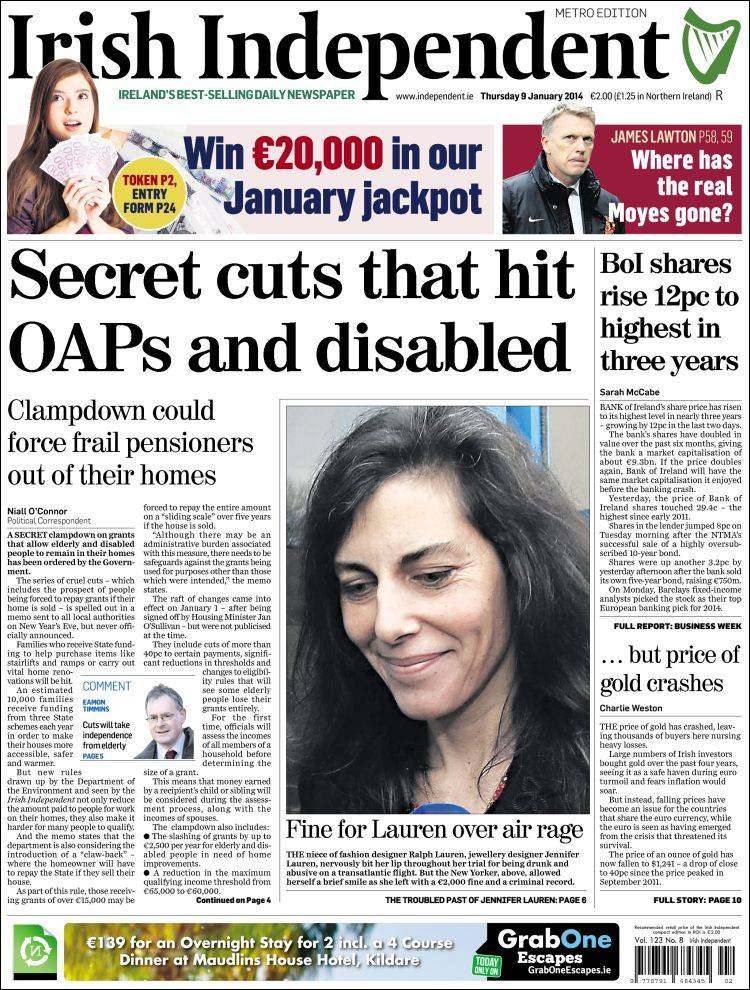 Portada de Irish Independent (Irlanda)