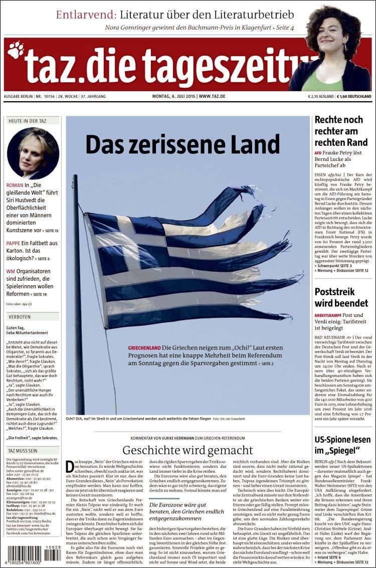 Portada de Die Tageszeitung (Germany)