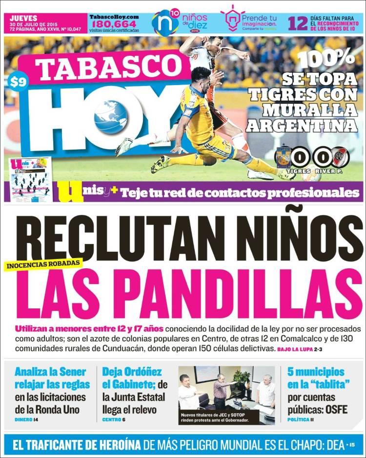 Portada de Tabasco Hoy (México)