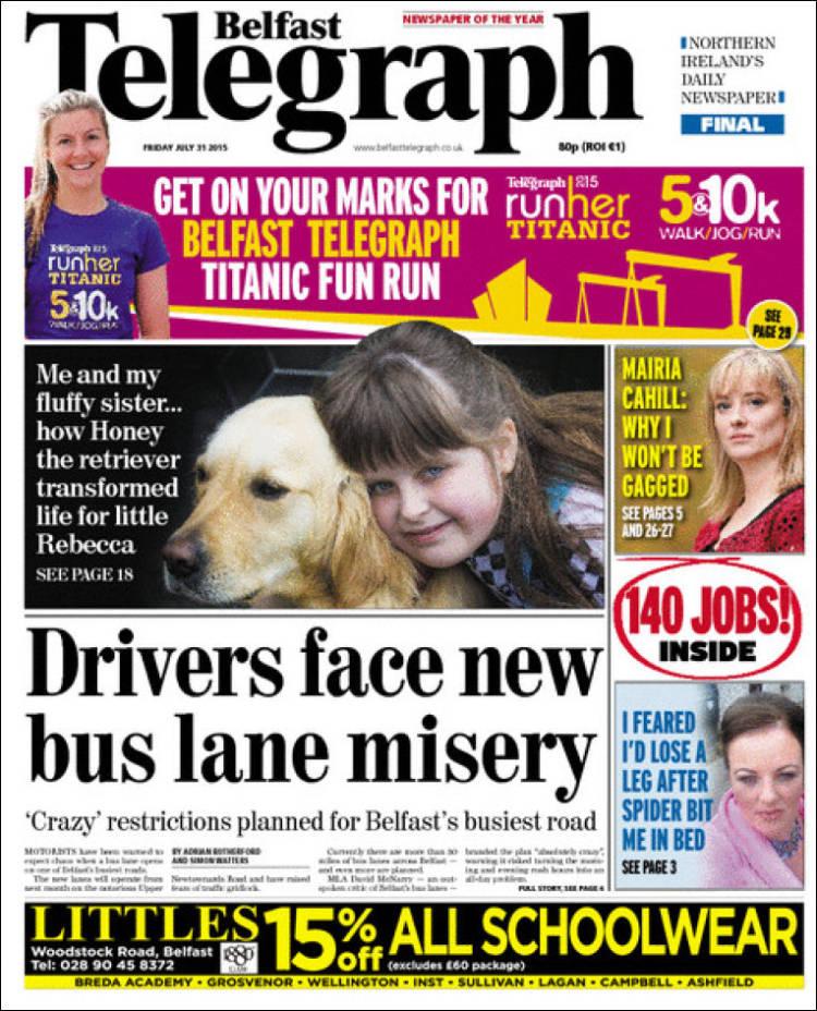 Portada de Belfast Telegraph (Reino Unido)