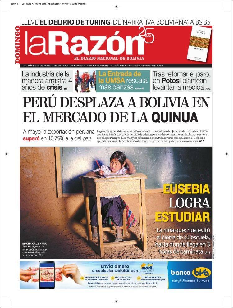 Portada de La Razón (Bolivia)