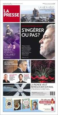 Portada de La Presse (Canadá)