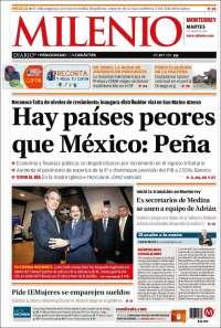 Portada de Milenio de Monterrey (México)