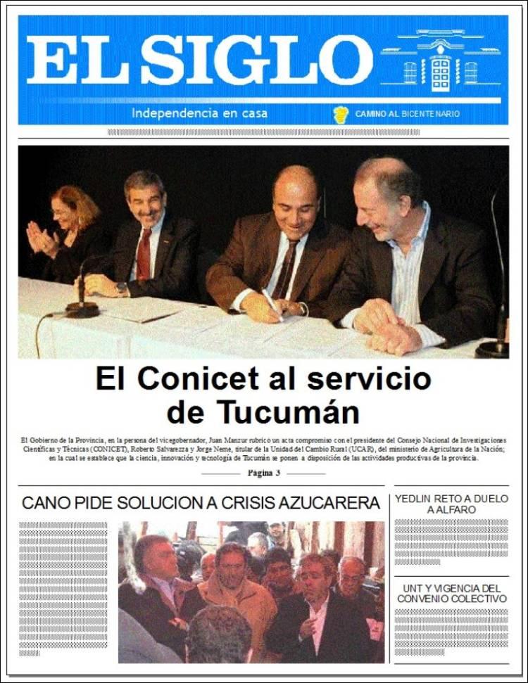 Portada de El Siglo de Tucumán (Argentina)