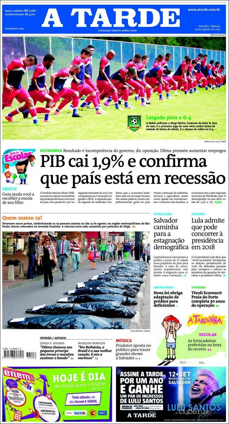 Portada de Diário A Tarde (Brasil)