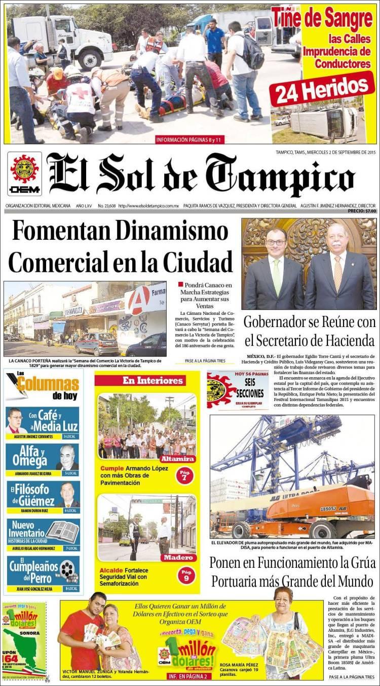 Portada de El Sol de Tampico (Mexico)