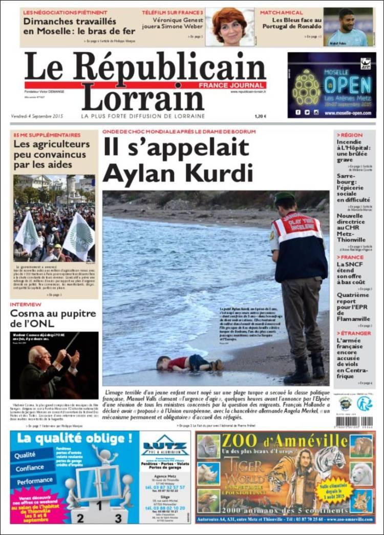 Portada de Le Republicain Lorrain (Francia)