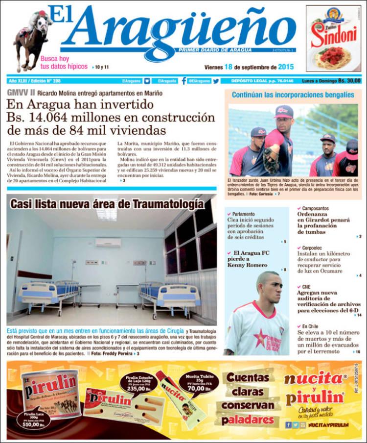 Portada de El Aragüeño (Venezuela)