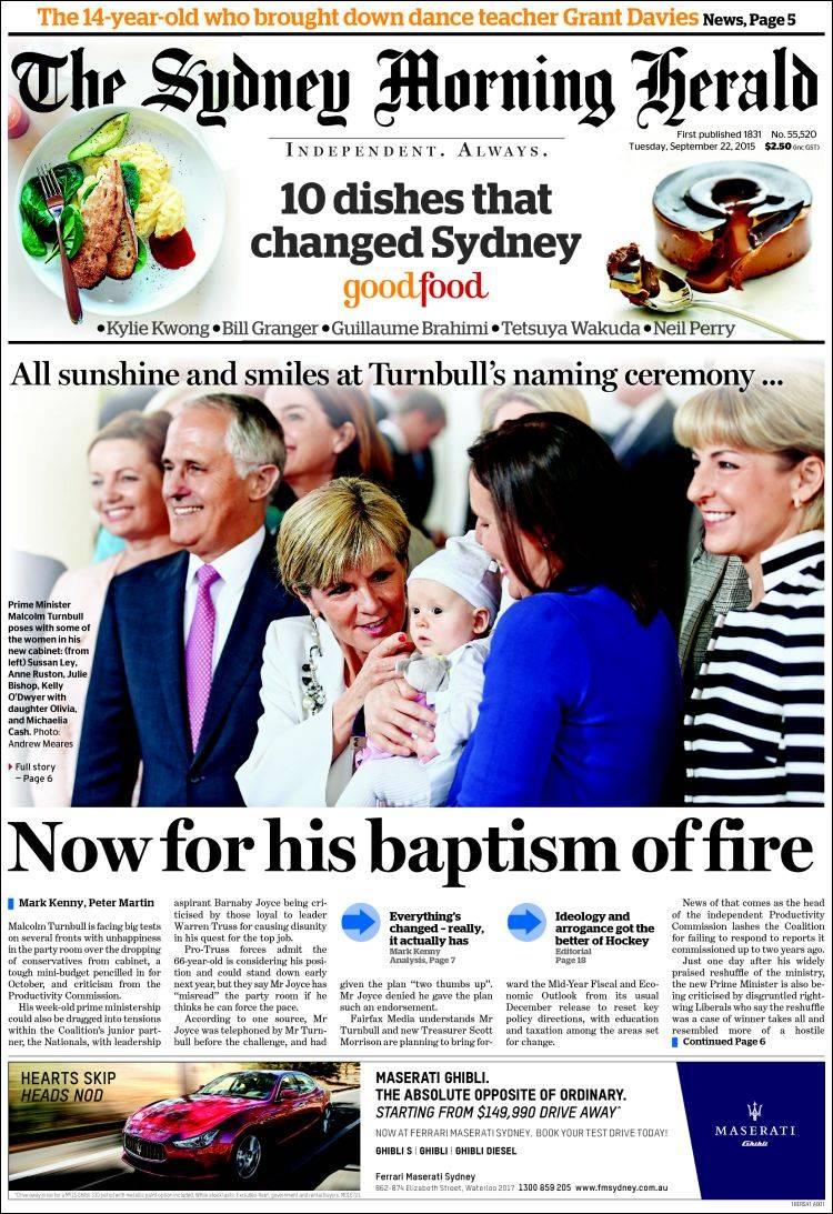 Portada de The Sydney Morning Herald (Australie)