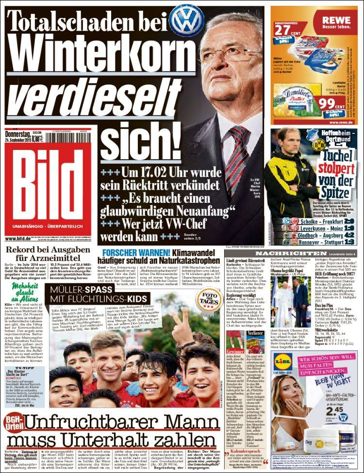 Newspaper Bild Germany Newspapers In Germany Thursday S Edition