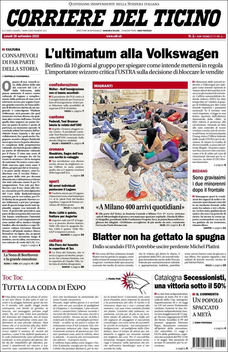 Portada de Corriere del Ticino (Suiza)
