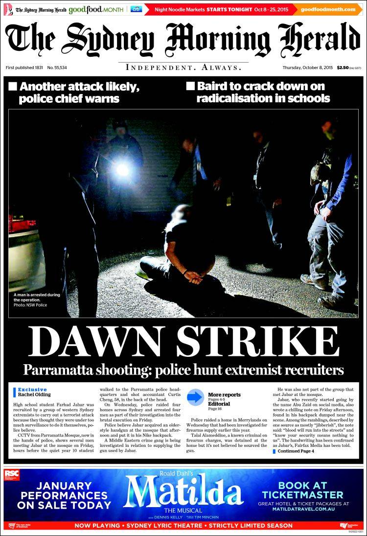 Portada de The Sydney Morning Herald (Australia)