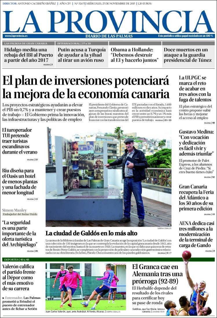 Portada de La Provincia (España)