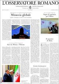 Portada de L'Osservatore Romano (Italia)