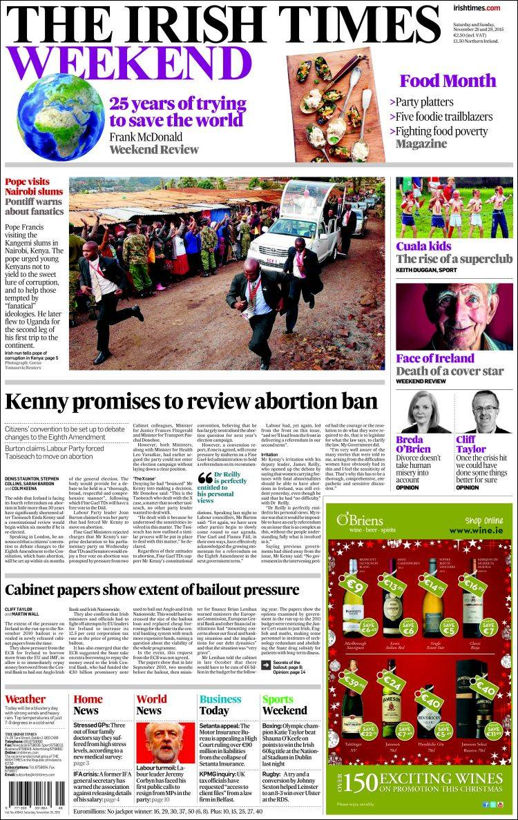 Portada de Irish Times (Ireland)